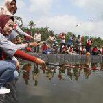 Wow..Baru Tiga Menit Lempar Joran, Bupati Brebes Langsung Dapat Ikan Lele